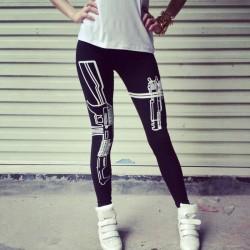 Machine Gun in Holster Women's Leggings Yoga Workout Capri Pants