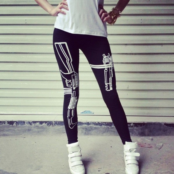 Machine Gun in Holster Women's Leggings Yoga Workout Capri Pants