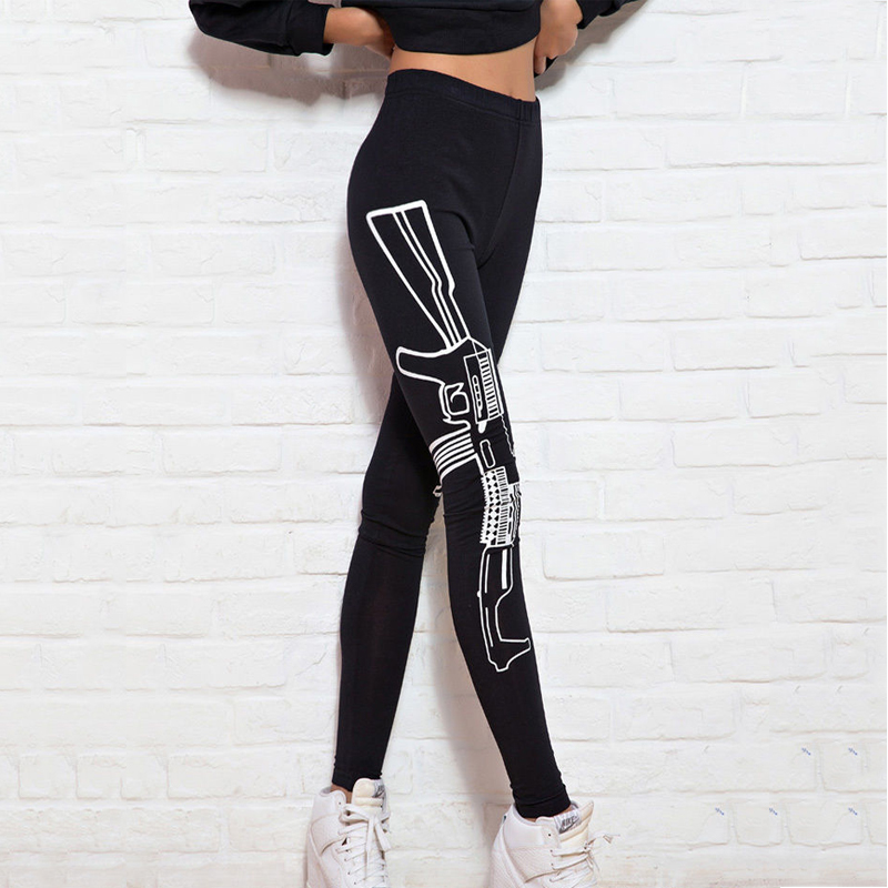 Machine Gun In Holster Women's Leggings Yoga Workout Capri