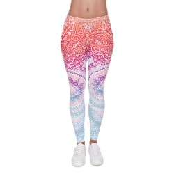 Pastel Paisley and Flowers Ombre Women's Leggings Yoga Workout Capri Pants