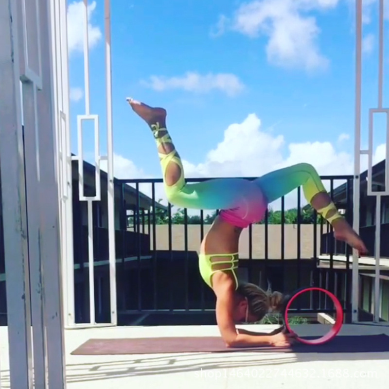 25a62f58d9ce0 Rainbow Bandage Ballet Women's Leggings Yoga Workout Capri Pants