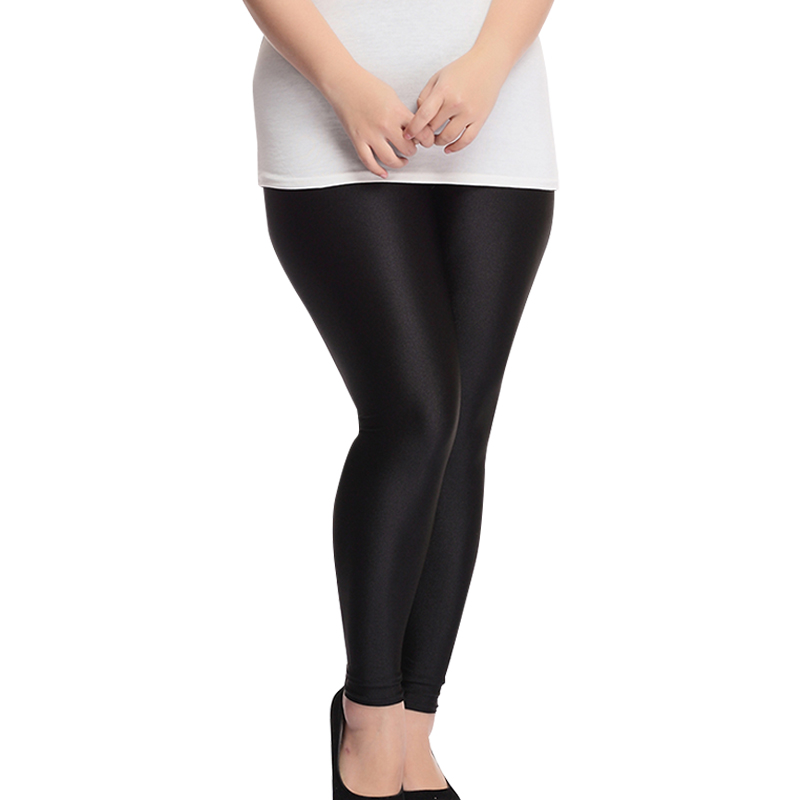 Shiny Black Womenu0026#39;s Leggings Yoga Workout Capri Pants