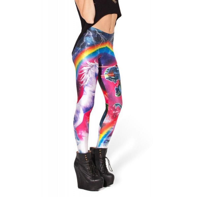 Free Weights Vs Yoga: Unicorn Vs Robo T-Rex Women's Leggings Printed Yoga Pants