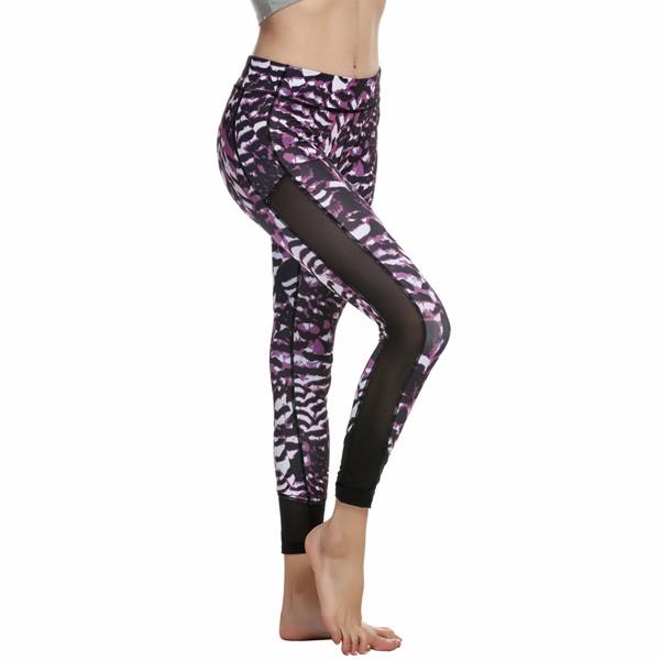 Animal Print Mesh Patchwork Women's Leggings Yoga Workout