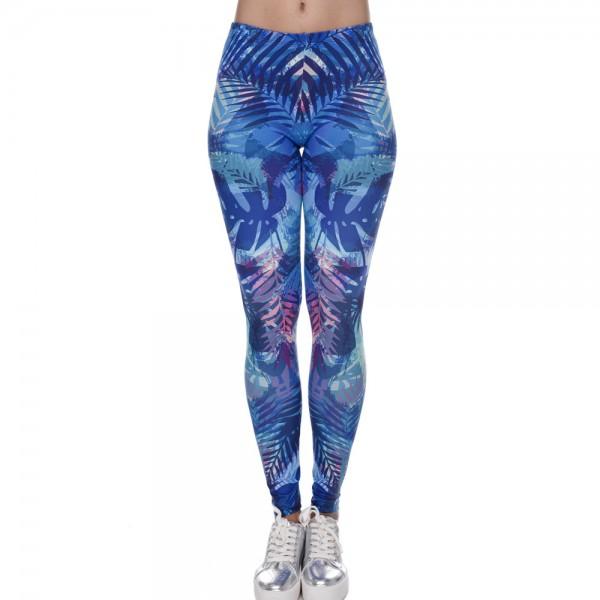 Blue Tropical Women's Leggings Printed Yoga Pants Workout