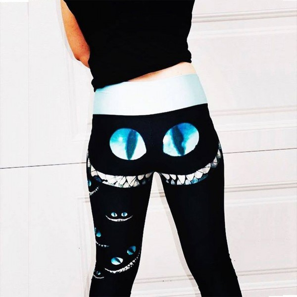 Alice in Wonderland Cheshire Cat Smile Women's Leggings Yoga Workout Capri Pants