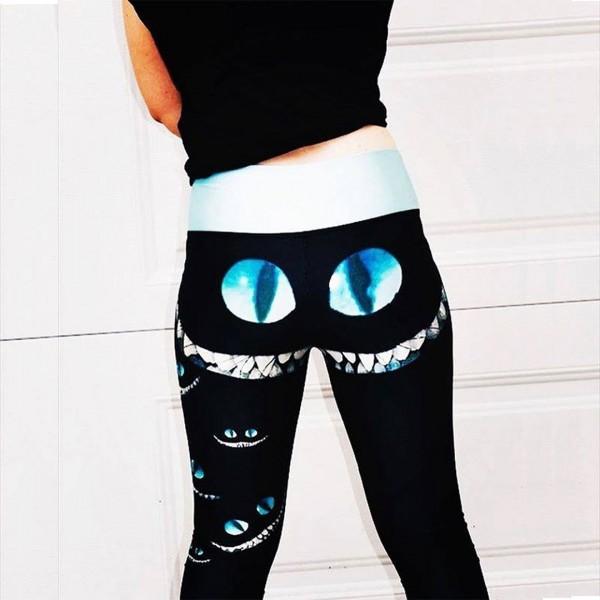 Alice in Wonderland Cheshire Cat Smile Women's Leggings Yoga Workout Capri Pants