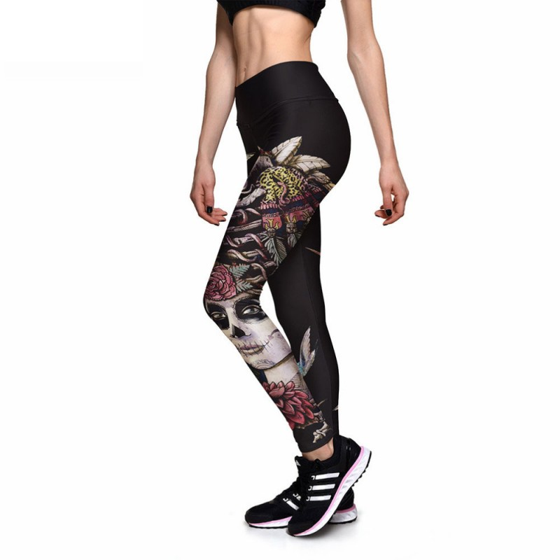 8d209ce842200 Day of the Dead Woman, Skulls and Birds Women's Leggings Printed Yoga Pants  Workout
