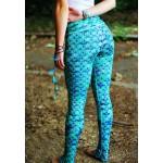 Detailed Mermaid Scales Blue Women's Leggings Printed Yoga Pants Workout Activewear