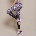 Floral Graphic Mesh Patchwork Women's Leggings Yoga Workout