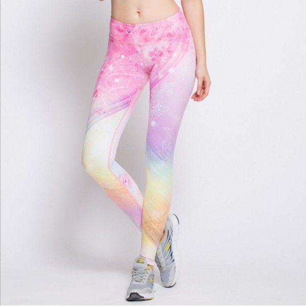 Floral Pastel Rainbow Women's Leggings Printed Yoga Pants Workout