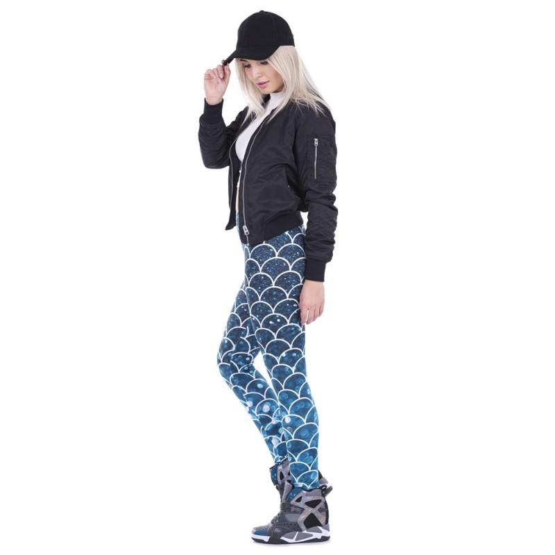 7b3c9fef9d Glitter Mermaid Scales in Blue Women's Leggings Yoga Pants Workout