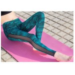 Graphic Print Mesh Panel  Women's Leggings Printed Yoga Pants Workout