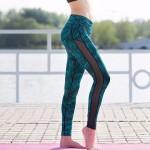 Graphic Print Mesh Panel  Women's Leggings Printed Yoga Pants Workout