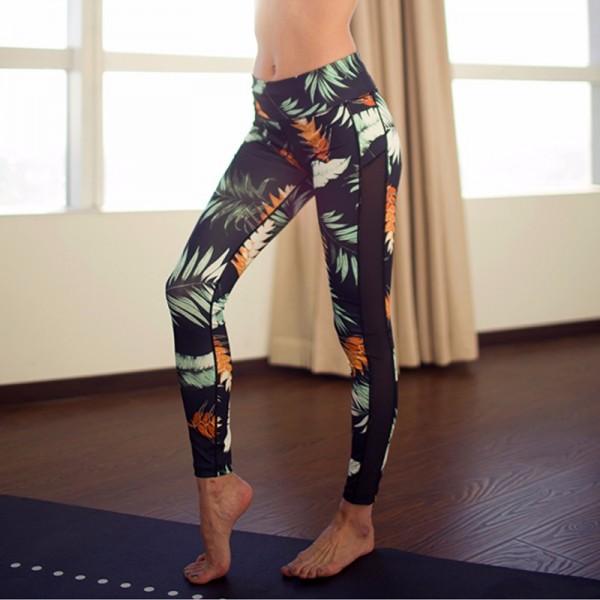 Hawaiin Print Mesh Panel  Women's Leggings Printed Yoga Pants Workout