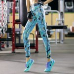 Leaves and Scribbles Blue Women's Leggings Printed Yoga Pants Workout