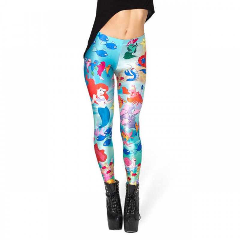 166c7f734372b The Little Mermaid and Friends Women's Leggings Printed Yoga Pants Workout