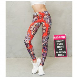 Paisley Red and Orange Women's Leggings Printed Yoga Pants Workout