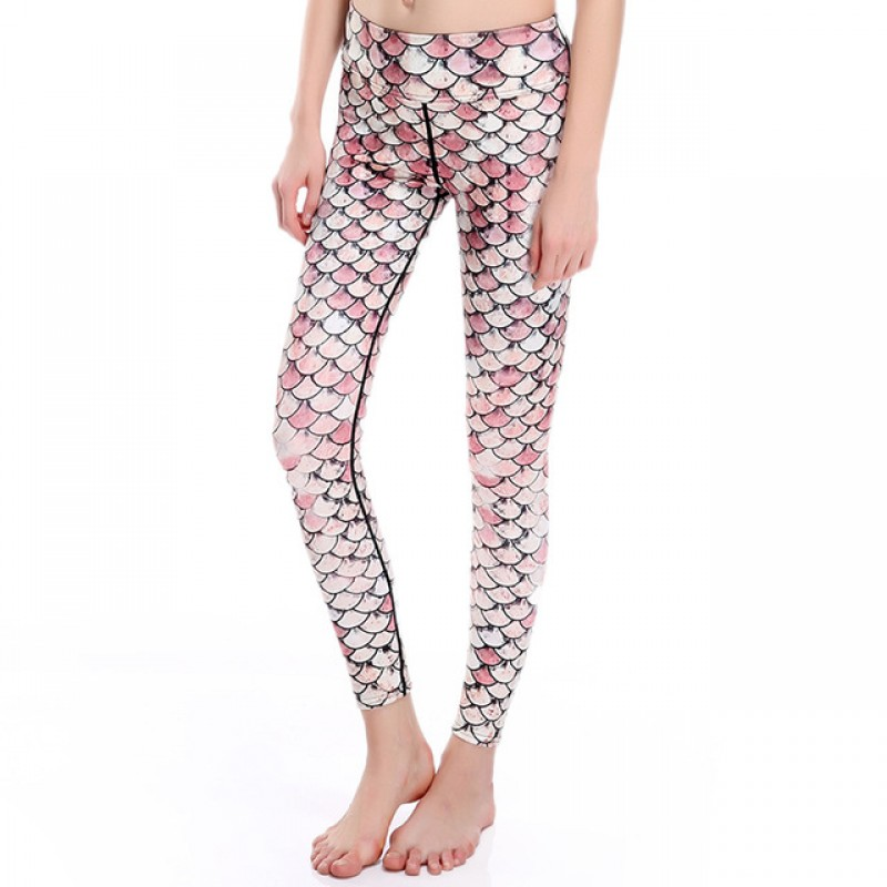 061a5042746 Pink and White Mermaid Scales Women s Leggings Printed Yoga Pants Workout