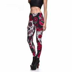 Red and Black Skull and Roses Women's Leggings Yoga Workout