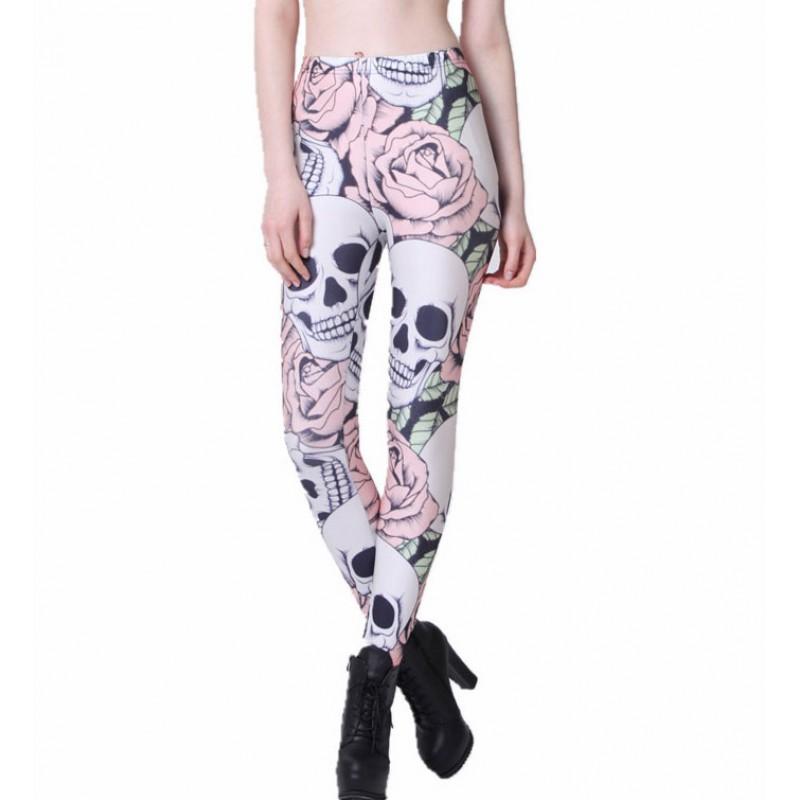6fbc57d3539cb Skulls and Pink Roses Women's Leggings Printed Yoga Pants Workout