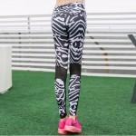 Zebra Print Mesh Panel Women's Leggings Printed Yoga Pants Workout