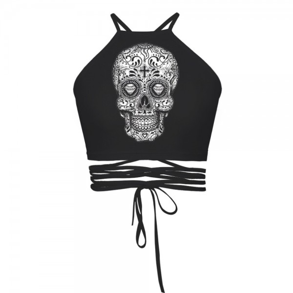 Day of the Dead Skull Black Women's Halter Top Wrap Criss Cross Crop Top