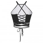 Dreamcatcher Black Women's Halter Top Wrap Criss Cross Crop Top