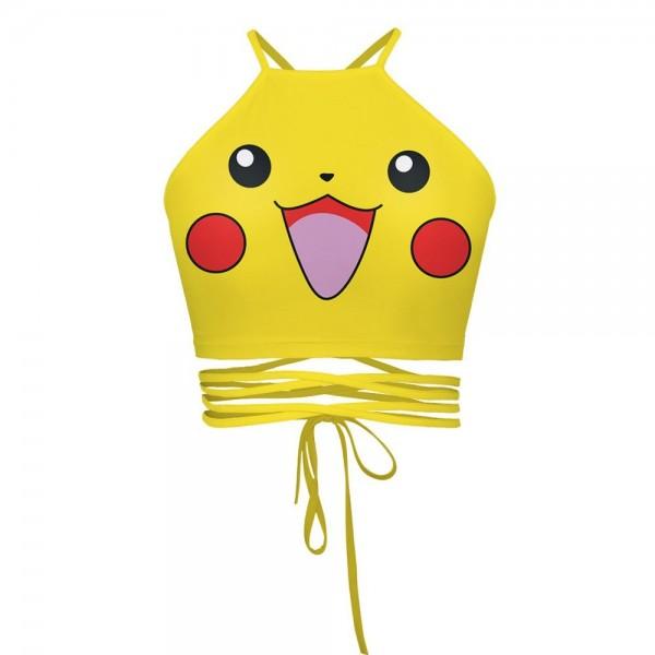 Pikachu Pokemon Women's Halter Top Wrap Criss Cross Crop Top