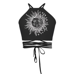 Sun and Moon Black Women's Halter Top Wrap Criss Cross Crop Top