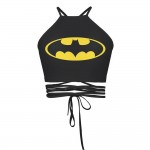 Batman Black Women's Halter Top Wrap Criss Cross Crop Top