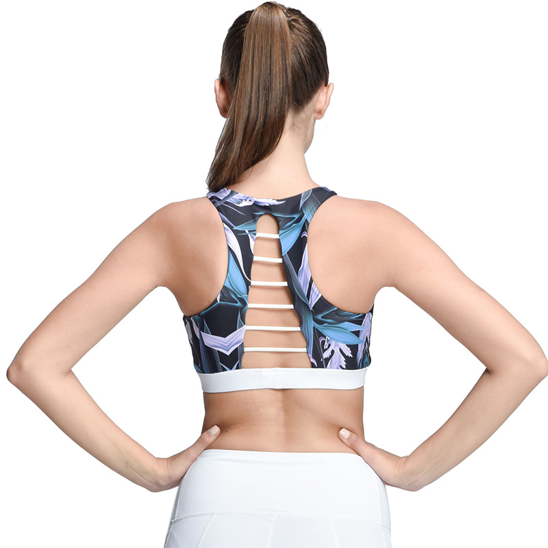 High Neck Strappy Push-Up Sports Bra Yoga Workout