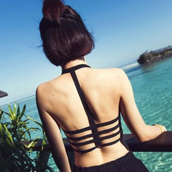 Bandage Strappy Black Bralette - Crop Top - Tank Top