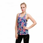 Floral on Blue Women's Racerback Quick Dry Grid White Tank Top