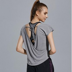 Loose Fit Open Back with Tie Tee - T-Shirt - Quick Dry Workout Breathable Yoga