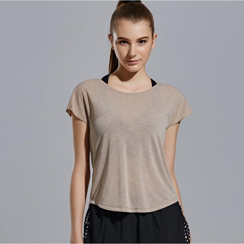 Loose Fit Open Back with Tie Tee - T-Shirt - Quick Dry ...