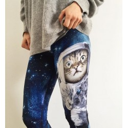 Astronaut Cat in Space Women's Leggings Yoga Workout Capri Pants