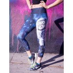 Astronaut Cat in Space Women's Leggings Yoga Workout Capri Pants