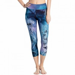 Blue Sea and Jellyfish Women's Leggings Yoga Workout Capri Pants