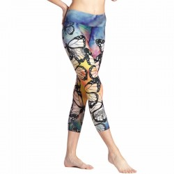 Butterflies Flying in a Colorful Sky Women's Leggings Yoga Workout Capri Pants