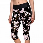 Cherry Blossom on Black Women's Leggings Yoga Workout Capri Pants
