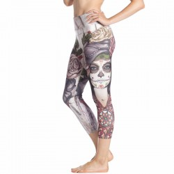 Day of the Dead with White Roses Women's Leggings Yoga Workout Capri Pants