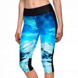 Glacier Mountain Women's Leggings Yoga Workout Capri Pants
