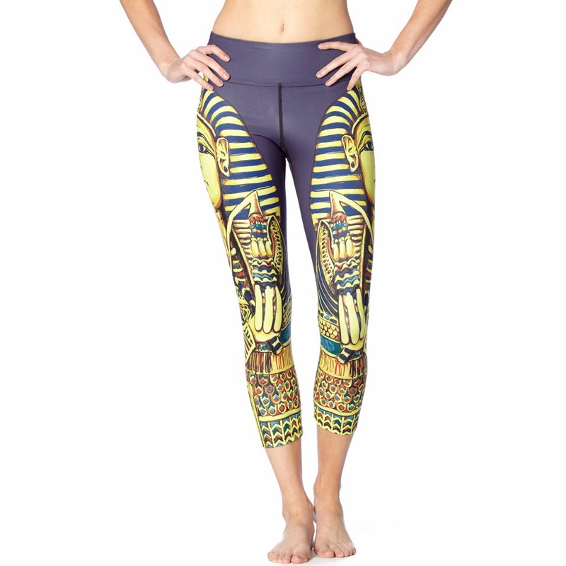 King Tut Egyptian Women's Leggings Yoga Workout Capri Pants