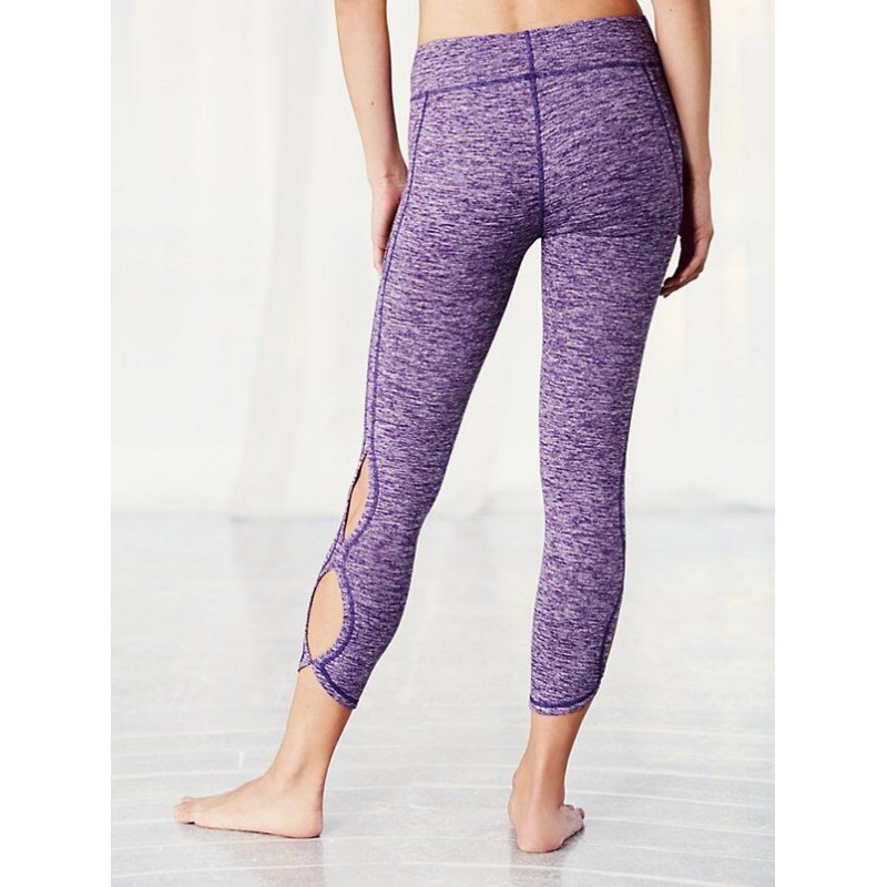 Marled Cutout Womenu0026#39;s Capri Leggings Printed Yoga Pants Workout