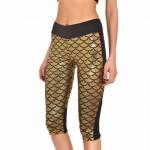 Metallic Mermaid Scales Women's Leggings Yoga Workout Capri Pants