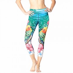 Parrot with Colorful Hawaiin Hibiscus Women's Leggings Yoga Workout Capri Pants