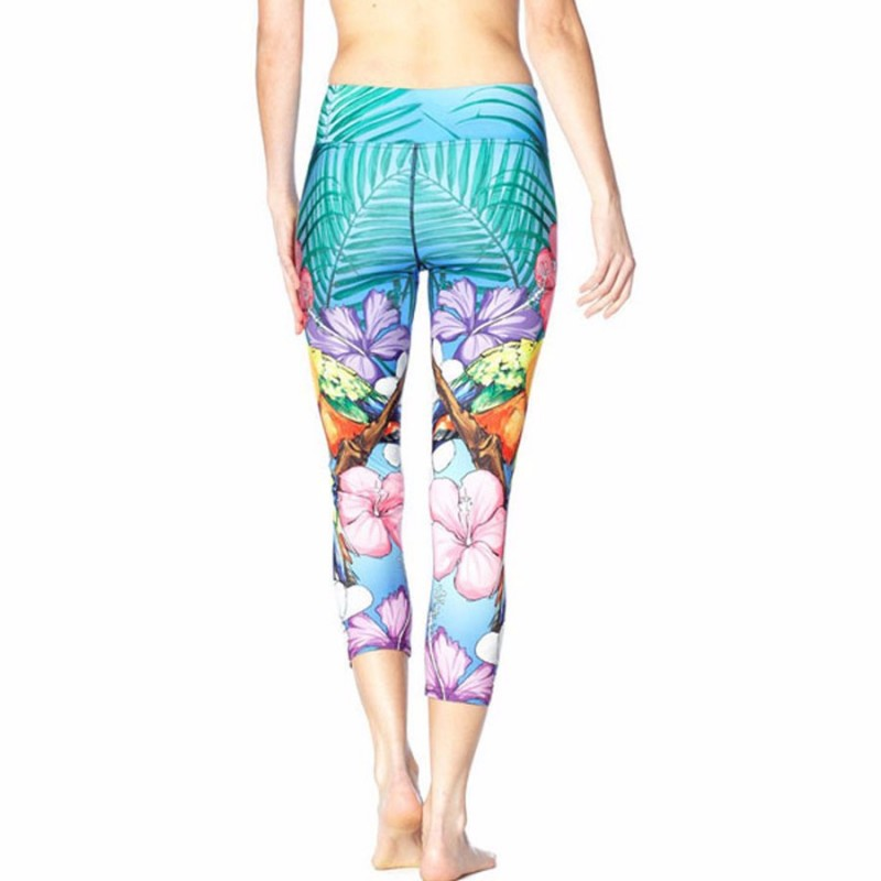 with Colorful Hawaiin Hibiscus Women's Leggings Yoga Workout Capri ...