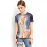Adorable Orange Cat in Space Women's Tee - Short Sleeved T-Shirt