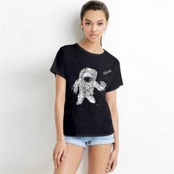 Alone Astronaut Women's Black Tee - Short Sleeved T-Shirt